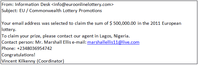 Scam lottery email