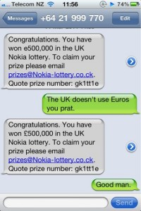 Scam lottery message