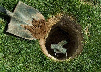 Hiding money in the yard