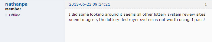 Lottery Destroyer Forum Review