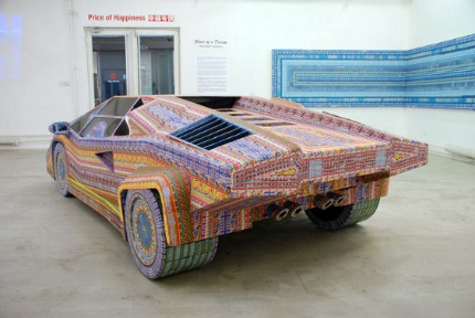 Dream Car made of used lottery tickets