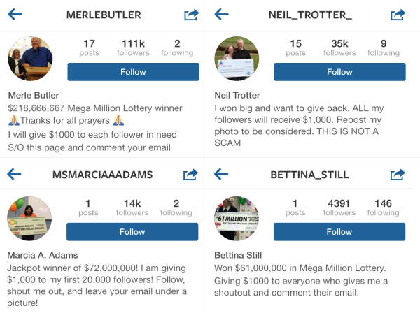 Instagram Scam Targets Lottery Players