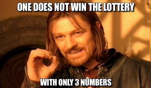 3 numbers lottery meme