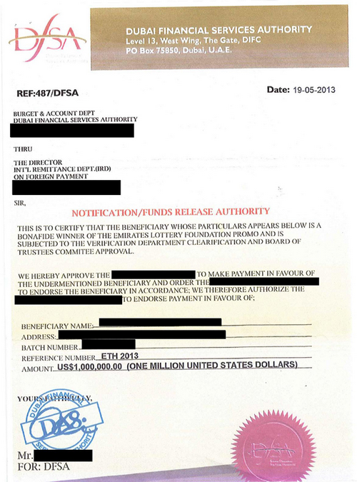 Dubai Financial Services Authority Scam