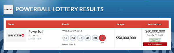 Visit the Lottery USA Website for the Latest PowerBall Results