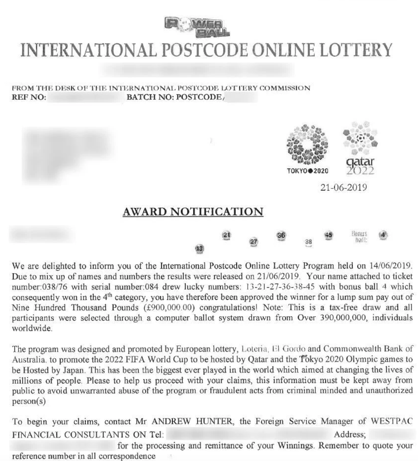 International Postcode Online Lottery scam